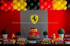 Ferrari Race Car Birthday, Race Car Party, Cars Birthday Parties, Baby Birthday, Ferrari Party, First Birthdays, Nikko, Achilles, Lamborghini