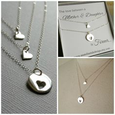 Mother Daughter Necklace Set Heart Necklace by anatoliantaledesign, $56.00