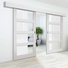 Surface Sliding Doors Thruslide Surface Cayman White Primed Sliding Double Door and Track Kit - Clear Glass - Lifestyle Image. Sliding Door Panels, Sliding Pantry Doors, Sliding Barn Door Hardware, Mirrored Sliding Closet Doors, Sliding Glass Barn Doors, Glass Doors, Garage Doors, Room Divider Doors, Room Doors