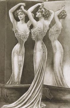 """CIRCA 1901: undated Illustration showing women wearing corsets. (Photo by Mansell/Time & Life Pictures/Getty Images). S-bend corset:  the flat front pushed the upper body forward and threw the hips back.  This corset didn't support the bust, so bust bodices were added to create the fashionable """"monobosom""""."""