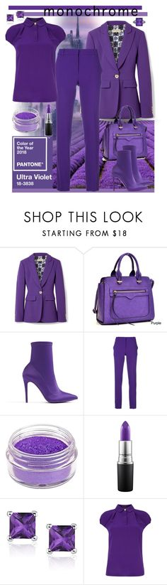 """""""Monochrome - Ultra Violet"""" by giovanina-001 ❤ liked on Polyvore featuring Emilio Pucci, Dasein, ALDO, Manic Panic NYC, MAC Cosmetics, Ted Baker, Ferrucci and PearlsandLace"""
