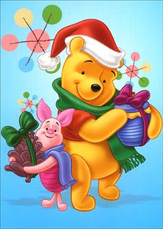 Winnie the Pooh and Piglet Christmas Winne The Pooh, Cute Winnie The Pooh, Winnie The Pooh Friends, Mickey And Friends, Winnie The Pooh Christmas, Snoopy Christmas, Christmas Cartoons, Christmas Characters, Pooh Bear