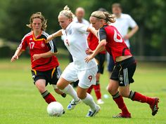 Natasha Dowie of England in action during the Women's World Cup Group Six Qulifier between England and Ukraine at Greenhous Meadow on May 8, 2014 in Shrewsbury, England.