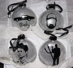 Indulge your inner fangirl (or boy!) with Supernatural themed ornaments. This is a set of four large 4 glass disc-shaped Christmas ornaments Christmas Time Is Here, Christmas Fun, Christmas Bulbs, Christmas Decorations, Xmas, Supernatural Party, Supernatural Christmas, Supernatural Jewelry, Supernatural Memes