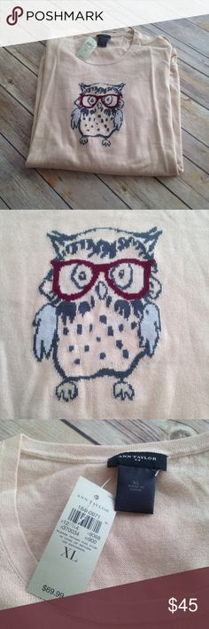 Ann Taylor Owl Sweater Size XL Ann Taylor Cream Color Sweater with Cute Owl in Glasses. Sweater is lightweight. 100% cotton. Machine wash. Size XL. NWT. Ann Taylor Sweaters Crew & Scoop Necks