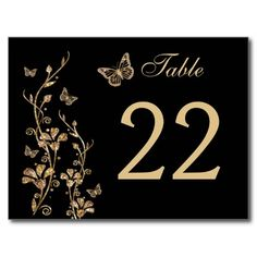 Black, Gold Floral with Butterflies Table Number Post Cards