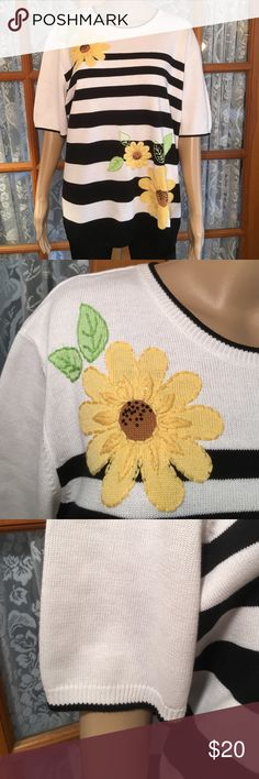 "Alfred Dunner Acrylic/Cotton Blend Sweater Top 2X 55% cotton45% acrylic Bust is 52"". Length is 28"". Excellent condition. Beautiful embroidery. Non smoking home Alfred Dunner Tops"