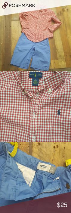 Talph Lauren shirt and cute blue shorts. Boys size S Ralph Lauren long sleeve shirt and Old Navy nlue size 7 (adjustable) shorts. Excellent condition.  Worn once. Clean Ralph Lauren Other