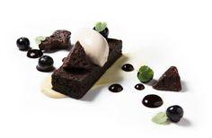 Flourless chocolate cake, eucalyptus custard, compressed blueberries, black licorice gelato