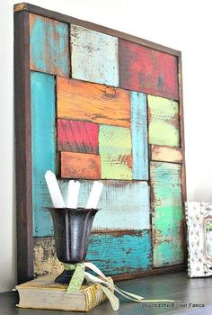 Scrap Wood Art- for large brick deck wall