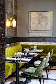 Mustard and soft green velvet in Paris restaurant Mr Bleu, designed by Joseph Dirand