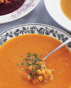 Pureed soups can be made with a variety of vegetables. This soup is also delicious when made with roasted beets or carrots in place of the squash.