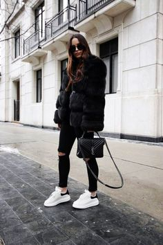 Outfits ideas & inspiration : STYLE NOTES Black fur outfit and Alexander McQueen sneakers Sneakers Fashion Outfits, Winter Fashion Outfits, Look Fashion, Trendy Outfits, Winter Outfits, Womens Fashion, Fashion Ideas, Feminine Fashion, Fashion Night