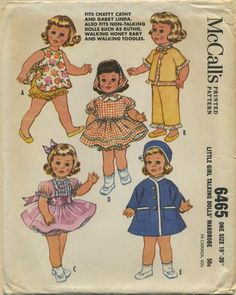 "Vintage Doll Clothes Sewing Pattern | Fits Chatty Cathy and Gabby Linda. Also fits non-talking dolls such as Ruthie, Walking Honey Baby and Walking Toodles | McCall's 6465 | Year 1962 | One Size 19"" - 20"""