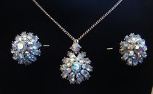 Vintage Trifari Blue Aurora AB Rhinestone Pendant Necklace Earring Set $45.00