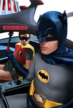 Batman and Robin in the Batmobile.