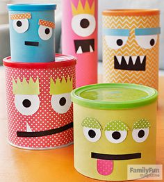 Conquer clutter with a clan of charming monster containers guaranteed to make you laugh.                  Collect empty cans of various types (ours held tennis balls, cookies, coffee, and Play-Doh). Use double-sided tape to cover them with scrapbook paper.  Add cutout paper features with tacky glue or tape, then watch your new friends devour paper clips, coins, marbles, and more!                  Originally published in the May 2015 issue of FamilyFun magazine.