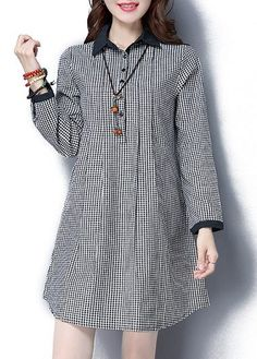 31.74$  Buy here - http://divso.justgood.pw/go.php?t=173115 - Long Sleeve Turndown Collar Plaid Tunic Mini Dress 31.74$