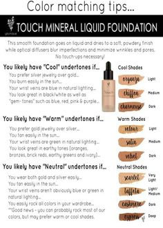 Foundation color matching chart. https://www.youniqueproducts.com/TraciKerian/party/4633478/view