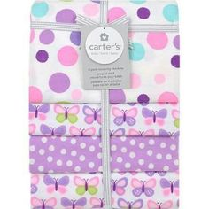 Purple polka dots and butterflies
