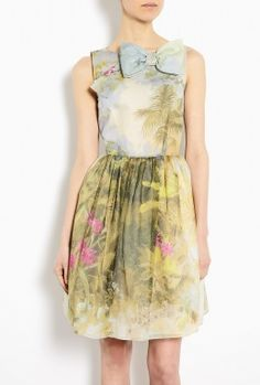 sigh...Hand Painted Floral Cotton Silk Dress by Red Valentino