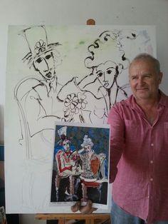 Art Laubar painting @ studio. .. Painting Studio, Brooklyn Bridge, Artist, Artists