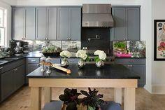 Black, Gray, and White Scandinavian Style Kitchen