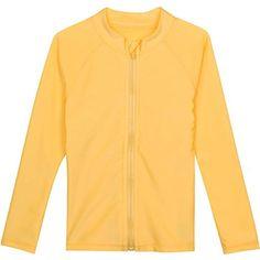 d42699b432 Kid long sleeve rash guard swim shirt with zipper and UPF UV sun protection.