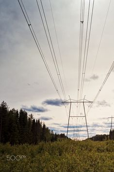 Power Lines Over The Fields by Jukka Heinovirta on Travel Pictures, Travel Photos, Places Around The World, Around The Worlds, Finland, Utility Pole, Wind Turbine, Fields, The Good Place
