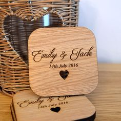 Wooden Wedding Table Coaster Favours - Personalised Mr and Mrs Favour for Guests - Pretty Personalised