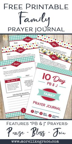 """Need a great resource to teach kids about prayer? This free printable family prayer journal uses a simple acronym """"PB&J"""" to guide family prayer times! 