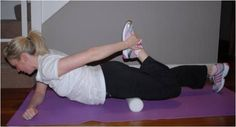 Targeting Quadriceps (front of thigh and hip) with Foam Roller:  Roll from the hip to the knee to target all the muscle fibres. You can make it harder by holding the leg to be worked in a quad stretch position as shown.