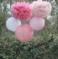 Assez en dentelle - Poms de papier de soie 3/3 décoré de lanternes en papier / / bébé douche, anniversaire, mariage, Bridal Shower, décor de pépinière sur Etsy, $33.18 CAD