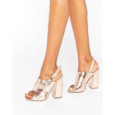 Missguided Cross Strap Block Heel Sandals Rose Gold (€54) ❤ liked on Polyvore featuring shoes, sandals, gold, peep-toe shoes, ankle strap shoes, ankle wrap shoes, peep toe shoes and block heel shoes