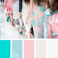 a white blouse, beige, cyan, fashion palette, fashion show, fashion week, light blue, pink, white, white dress, white shirt.