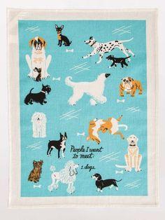 "Blue Q ""People To Meet, Dogs"" woven  Dish Towel / Tea Towel"