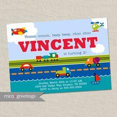 Transportation Birthday Party Invitation Train by miragreetings