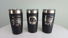 Landcruiser Club 20oz ozark trail Tumblers with initials.  Textured Black powder coat