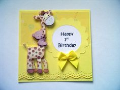 Baby Giraffe and Koala Card in Yellows for Baby's First Birthday Happy 1st Birthday Wishes, 1st Birthday Cards, Homemade Birthday Cards, Happy 1st Birthdays, Baby First Birthday, Homemade Cards, Kids Cards, Baby Cards, Make Your Own Card