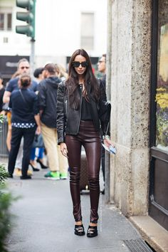 Maroon leather skinnies.