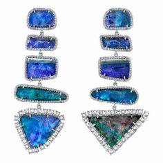 Irene Neuwirth Boulder Opal & Diamond Mixed Shape Earrings at Barneys