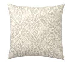 "One Throw Pillow: 24"" Diamond Print Pillow Cover in Celadon | Pottery Barn"