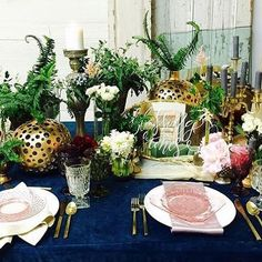 A sneak peak of a mock up for a very special wedding later this month.  We love how our gold flatware, white + pink plates, and colored goblets pop against this navy velvet.  @themillefiori @slomique  #prettyvintagerentals #vintagerentals #vintagewedding
