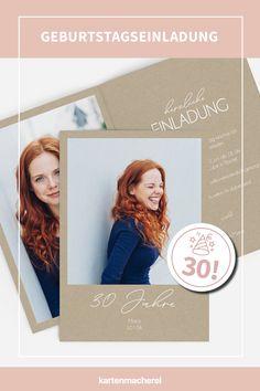 """Minimalistisch & clean: Geburtstagseinladung zu deinem 30. Geburtstag im Kraftpapier-Look mit Handlettering.  Lade dein Lieblingsfoto hoch, ergänze persönliche Worte und wähle dein Design - schon ist deine individuelle Einladungskarte zum 30. Geburtstag fertig! Überrasche deine Gäste schon am Briefkasten mit der kreativen Einladung zu deiner Geburtstagsparty! Design: """"Klarheit"""" #kartenmacherei #geburtstag Polaroid Film, Invitations, Birthday, Design, Mailbox, Kraft Paper, Invitation Cards, Creative Ideas, Birthdays"""