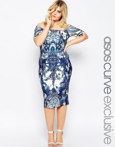 e7c0ff54b2 CURVE Porcelain Print Bardot Bodycon Dress