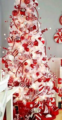 arbol de navidad blanco decorado - Buscar con Google