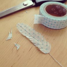 Make your own feathers with washi tape!