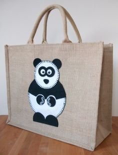 Natural Jute Hessian Animal Large Shopping Bag - Felt Panda Motif £15.00
