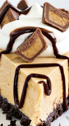 Peanut Butter Pie ~ Easy and delicious... Top it with mini peanut butter cups, whipped cream, and chocolate sauce for one seriously decadent dessert.