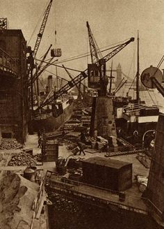 Wharves London bridge  produced by The Fleetway House in the nineteen-twenties